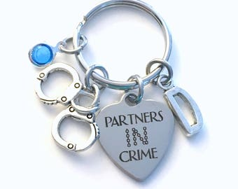 Partners In Crime Keychain, Gift for Best Friend Key Chain, BFF Keyring Jewelry Initial Birthstone present Stagette Wedding Bridal Party her