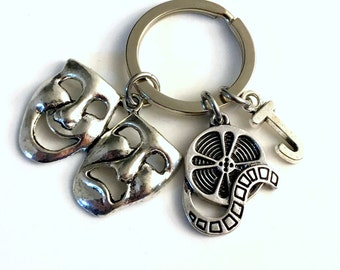 Gift for Actor Keychain, Actress Key chain, Film Director Keyring, Movie Reel Initial letter for her him Theater School Drama Mask Student
