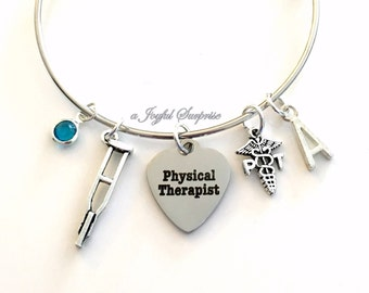 Gift for Physical Therapist Charm Bracelet, PT Jewelry Crutches Crutch Bangle Silver initial Birthstone Therapy Thank you present women her
