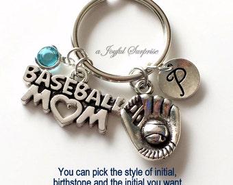 Baseball Mom Key Chain, Silver Baseball Player's Mom Keyring Base Ball Mom KeyChain Gift For Baseball Mom Jewelry Letter birthstone initial