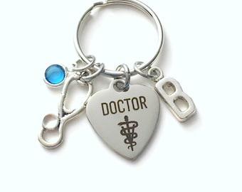 Gift for Veterinarian Keychain, Vet Key Chain, Stethoscope Animal Doctor Keyring, Letter women her Birthstone Initial Present him men dad