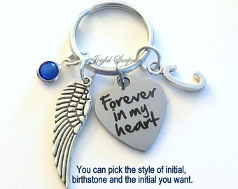 Forever in my heart KeyChain Memorial Keyring Loss of Son Key chain Grandma Sympathy Jewelry Personalized Initial Birthstone Mom Dad Infant