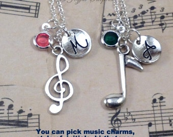 Best Friend Music Necklaces, Set of 2, Treble Clef Charm, Music Note Jewelry, BFF Gift, Musician Jewelry Band Geek initial birthstone 150