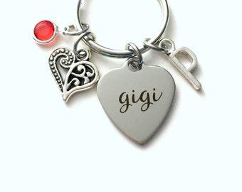 Gift for Gigi KeyChain, Gigi Key Chain, Grandmother Keyring Jewelry Initial Birthstone present birthday her mom Grandma Nannie from family