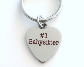 Babysitter KeyChain, Gift for Sitter Keyring #1 Au Pair Nanny Key chain Christmas present purse charm planner day care provider worker ring