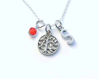 Tree of Life Gift for Mom Necklace, Mother's Day Jewelry, from Children Grandchildren 2 3 4 5 6 7 8 9 10 Letter Initial Birthstone Mommy