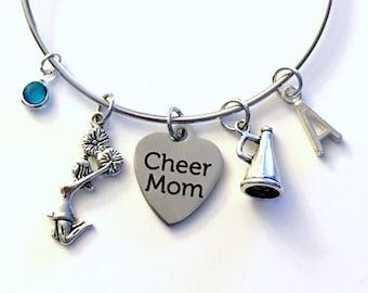 Cheer Mom Bracelet, Cheerleader Jewelry Charm Bangle I love to Cheerleading Silver initial Gift for Teenage Daughter Teen Girl birthstone