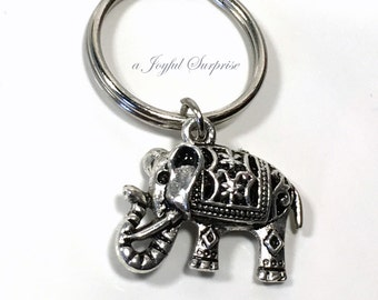 Elephant Keychain, Pewter African Elephant Key chain, Ancient Indian Elephant Keyring Gift, Theme Birthday Party Favor purse charm her him