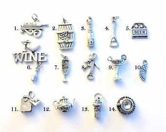 Beverage Drink Charm / Add on to listings / One single Silver Pendant / Beer, Wine, Tea, Coffee, Margarita, Cocktail, Fruit Slice Gift