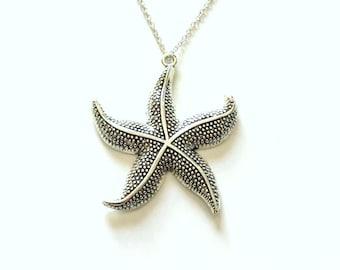 Large Star Fish Necklace, Starfish Statement Jewelry, Silver Charm Beach Pendant Fashion Birthday Gift Present 925 Sterling Chain Filigree