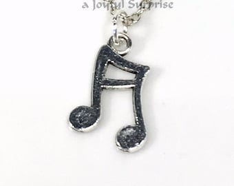 Music Note Necklace, Silver Musician's Jewelry, Double Quarter Single, Silver Band Geek Gift for Teacher Present Teenage Teen Boy Girl charm