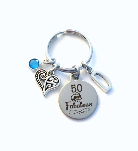 50th Birthday Gifts For Women Keychain Fifty Key Chain 50