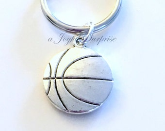 Basketball Key Chain, Gift for Basket Ball Player's KeyChain, Silver Coach Keyring, Teenage Teen Boy Girl Man teammate purse charm planner