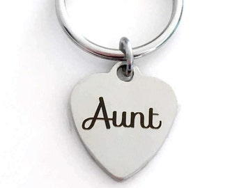 Aunt Key Chain, Aunt KeyChain, Gift for Aunt Keyring, Favorite New Special Auntie, Planner Purse Charm, Christmas Present Sister from Nephew