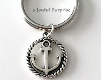Anchor Key chain, Marine Gift Nautical Keyring, Anchor Keychain, Boat Keyring, Silver Gift, Navy Graduation present sailing sailor him her