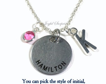 Hamilton Necklace, Musical Jewelry, Gift for Best Friend Music Theatre Director Stage Manager Charm Pendant Birthstone Initial Teenage girl