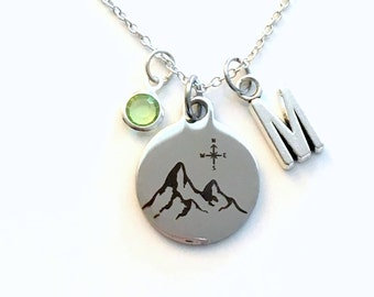 Mountain Necklace, Compass Jewelry, Gift for Traveler Present Birthstone initial letter her Teenage silver Journey Adventure Teen Girl women