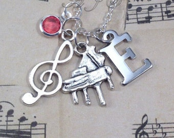 Personalized Piano Necklace, Gift for Pianist Gift, Treble Clef Music Jewelry, Silver Pianist Necklace with initial birthstone 150