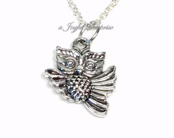 Owl Necklace, Silver Owl Jewelry, Gift Flying Bird Charm Little Girl or Boy, Wise old pewter Pendant Christmas Present Long Short Chain bird