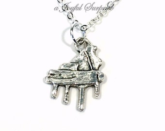 Piano Necklace, Music Jewelry, Silver Piano Charm, Piano Gift for Pianist Organist Pewter Pendant Recital gift student Birthday present 150