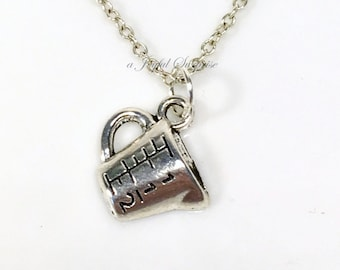 Measuring Cup Necklace, Kitchen Necklace, Baker Gift, Baking Charm, Silver Baker Jewelry, Pewter Chef Gift, Culinary Student Grad Gift Cook