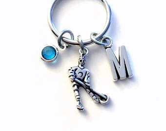 Ringette Keychain, Coach Gift for Daughter Key chain, Silver Keyring, Letter Birthstone Initial Custom Team Present Personalized Girl Women