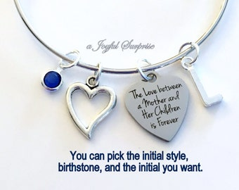Mother Daughter Bracelet, The Love between a Mother and her Children is forever Gift for Mom Jewelry Silver Bangle birthstone initial letter