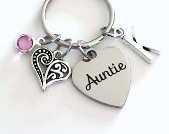 Auntie Gift Key Chain Keychain, Gift Keyring, Favorite Special Aunt New Birthstone Initial Godmother Sister From Niece Nephew Laser Engraved