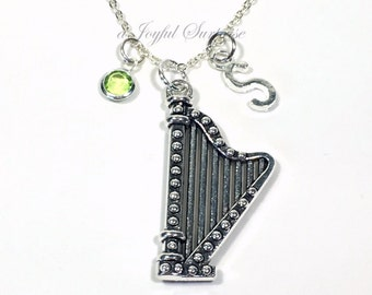 Harp Necklace Harpist Jewelry, Silver Gift for Orchestra String Musician Music Professor Custom initial birthstone Heavenly Heaven Symbol