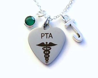 PTA Necklace, Physical Therapist Assistant Jewelry, Gift for Therapy PT Silver Charm Custom Personalized Initial Birthstone Women Woman Men