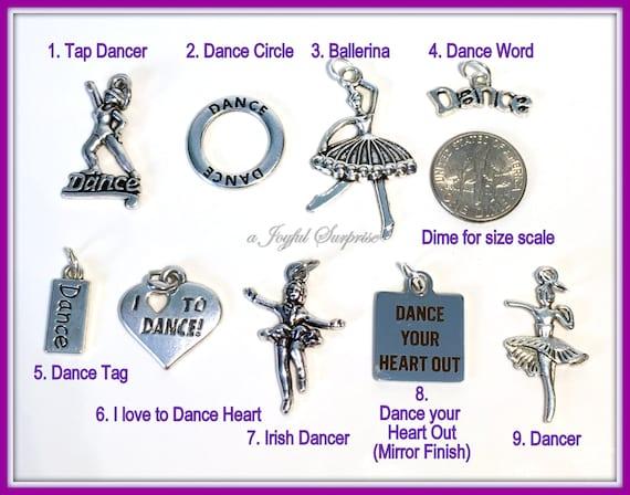 4 x Tibetan Silver /'I Love to Dance/' Love Heart Charm Pendant Jewellery Making