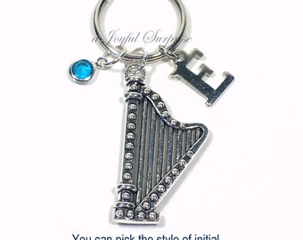 Harpist Keychain, Harp Key Chain, Musician Keyring Orchestra String Gift for Band Teacher Charm planner initial birthstone Personalized her