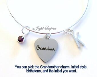 Grandma Bracelet, Gift for Grandmother Jewelry Mimi Nanny Nana Grammy Charm Bangle Silver initial Birthstone Personalized Custom worlds best
