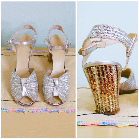 18e70522e1c67d années 1930 deux tons argentées et or or or chaussures / 30 de danse  chaussures taille US 6 | Des Technologies Sophistiquées 821c22