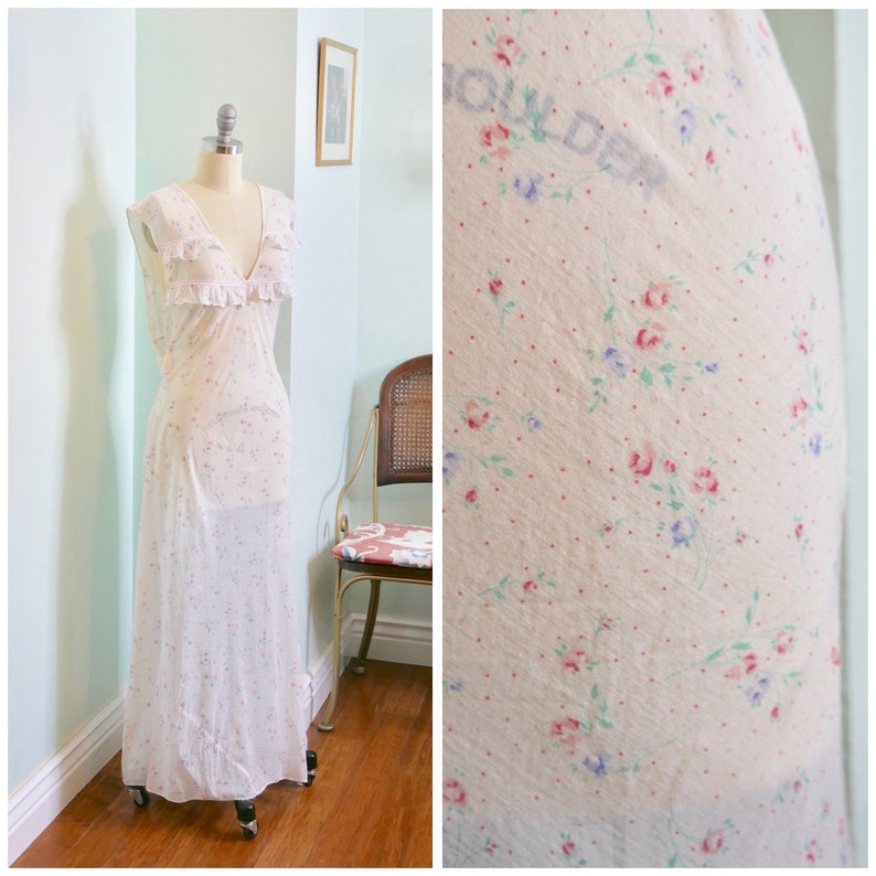 604b23f0fa Vintage 1930 s Bias Cut Floral Cotton Nightgown   30s semi sheer full  length tie back sleeveless nightie volup size XXL up to 44