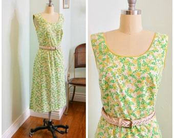 Vintage 1970's Floral Print Sundress / late 70s cotton yellow and green dress with pockets size M 28 waist by Carol Reed