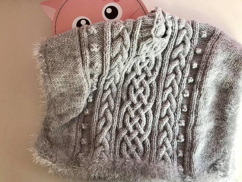 Grey Funky Fur Edge Poncho 18-24 Months Old Handmade
