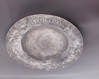 Plate in white, Turkey, iron with message written, good condition, beautiful, rustic