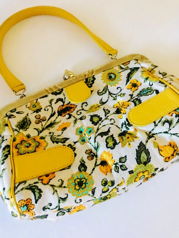 VTG 60s floral Retro Top Handle Purse by Roger Van