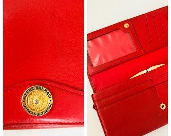 Vintage Pierre Balmain Red Gold Leather Tri fold Wallet