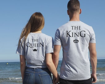 The King The Queen camisetas, Set de camisetas personalizadas para pareja The King The Queen, unisex, regalo  San Valentin, valentines