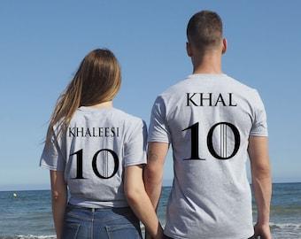 Khaleesi Khal Camisetas, camisetas para parejas, KHALEESI  KHAL, camisetas got, regalo San Valentín, enamorados, camiseta a juego pareja got