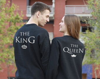 Couples sweatshirts, dress to match with your couple, king queen clothing