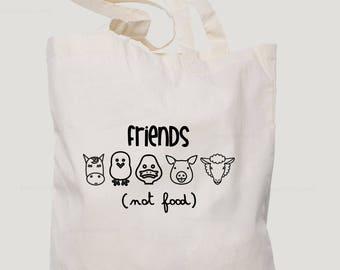 Friends not food bag, vegans sling bag, vegetarian gift, printed sling bag, vegetarian tote bag, gift for vegetarian, vegan gift