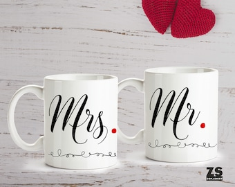 Set of two Mr and Mrs mugs for couple, marriage mugs, newlywed mugs, Christmas gift, gift for her, gift for him, couple