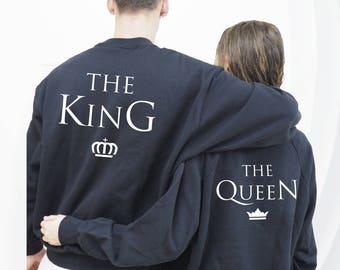 The King The Queen Sudaderas, sudaderas personalizadas para parejas, regalo para enamorados, regalo parejas, regalo aniversario
