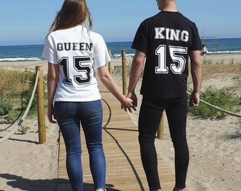 King Queen shirt personalized for gift, custom shirt, matching shirts for couple, t-shirts for lovers, King and Queen tee for couple set