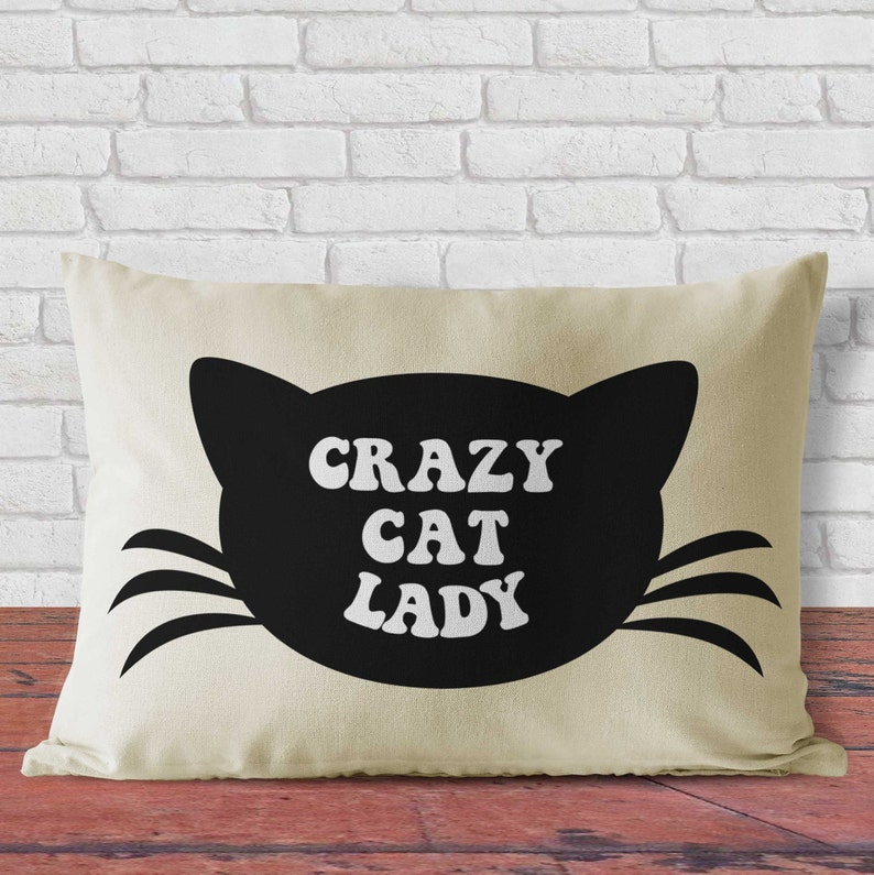 Pillow catlike design decorative cushion of crazy cat lady image 0