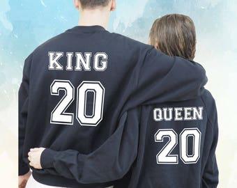 King  Queen Sudaderas personalizadas, para parejas, Sudadera King Sudadera Queen King, regalo de San Valentín, enamorados, Valentines