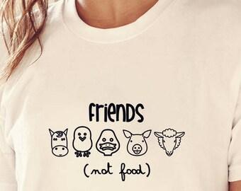 Vegan shirt, friends not food, vegan, friends not food shirt, vegan tshirt, friends not foods shirt, vegan clothing, vegetarian t shirt